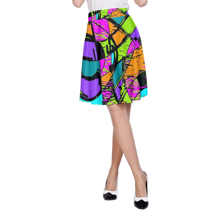 Abstract Sketch Art Squiggly Loops Multicolored A-Line Skirt