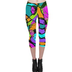 Abstract Sketch Art Squiggly Loops Multicolored Capri Leggings