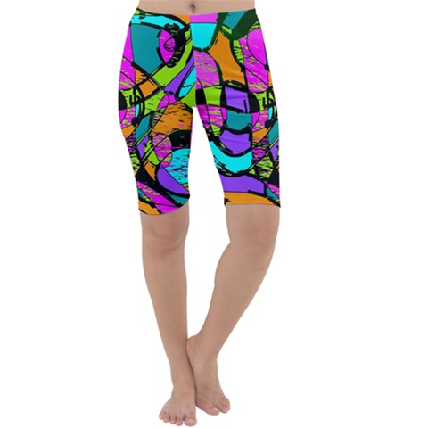 Abstract Sketch Art Squiggly Loops Multicolored Cropped Leggings