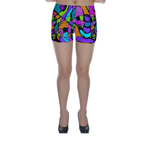 Abstract Sketch Art Squiggly Loops Multicolored Skinny Shorts
