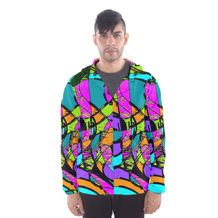 Abstract Sketch Art Squiggly Loops Multicolored Hooded Wind Breaker (Men)
