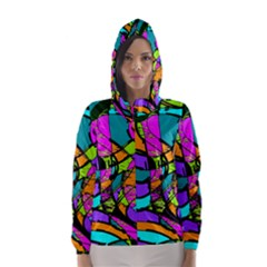 Abstract Sketch Art Squiggly Loops Multicolored Hooded Wind Breaker (women)