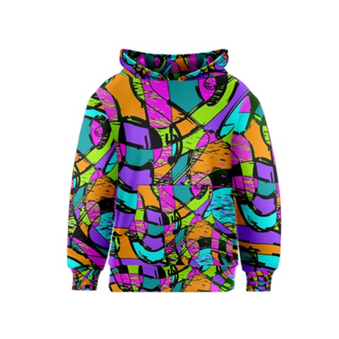 Abstract Sketch Art Squiggly Loops Multicolored Kids  Pullover Hoodie