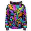 Abstract Sketch Art Squiggly Loops Multicolored Women s Pullover Hoodie View1