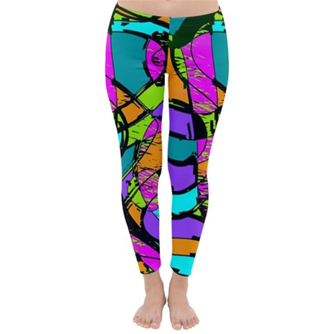 Abstract Sketch Art Squiggly Loops Multicolored Winter Leggings