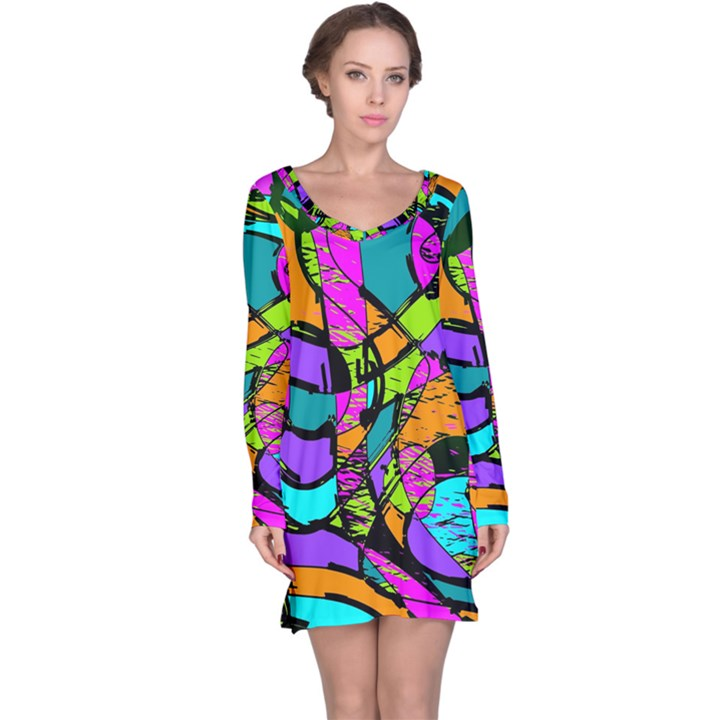 Abstract Sketch Art Squiggly Loops Multicolored Long Sleeve Nightdress