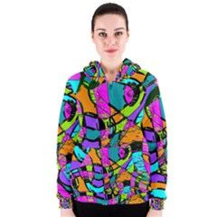 Abstract Sketch Art Squiggly Loops Multicolored Women s Zipper Hoodie