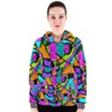 Abstract Sketch Art Squiggly Loops Multicolored Women s Zipper Hoodie View1