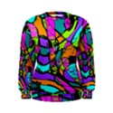 Abstract Sketch Art Squiggly Loops Multicolored Women s Sweatshirt View1
