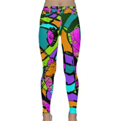 Abstract Sketch Art Squiggly Loops Multicolored Yoga Leggings
