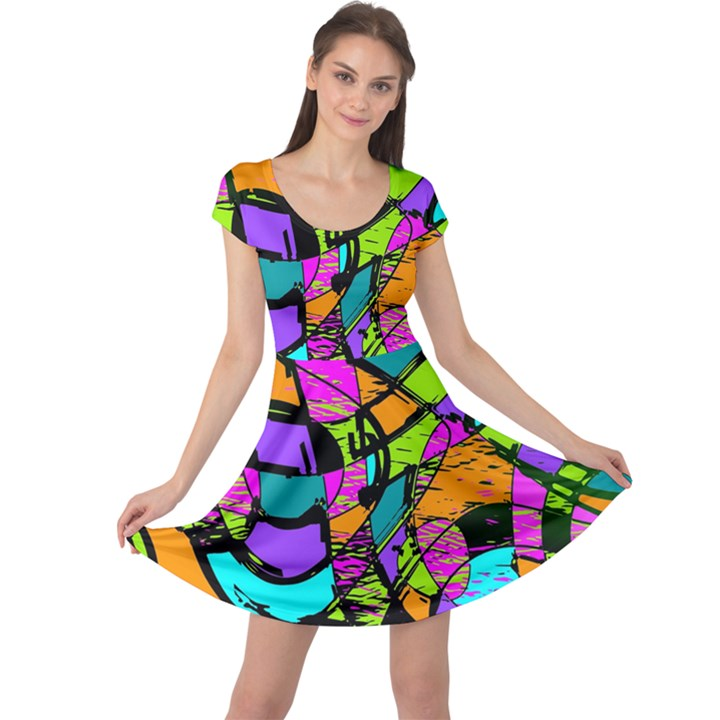 Abstract Sketch Art Squiggly Loops Multicolored Cap Sleeve Dresses