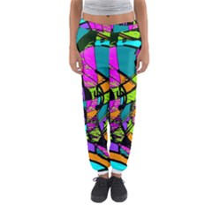 Abstract Sketch Art Squiggly Loops Multicolored Women s Jogger Sweatpants
