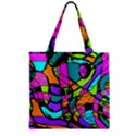 Abstract Sketch Art Squiggly Loops Multicolored Zipper Grocery Tote Bag View1