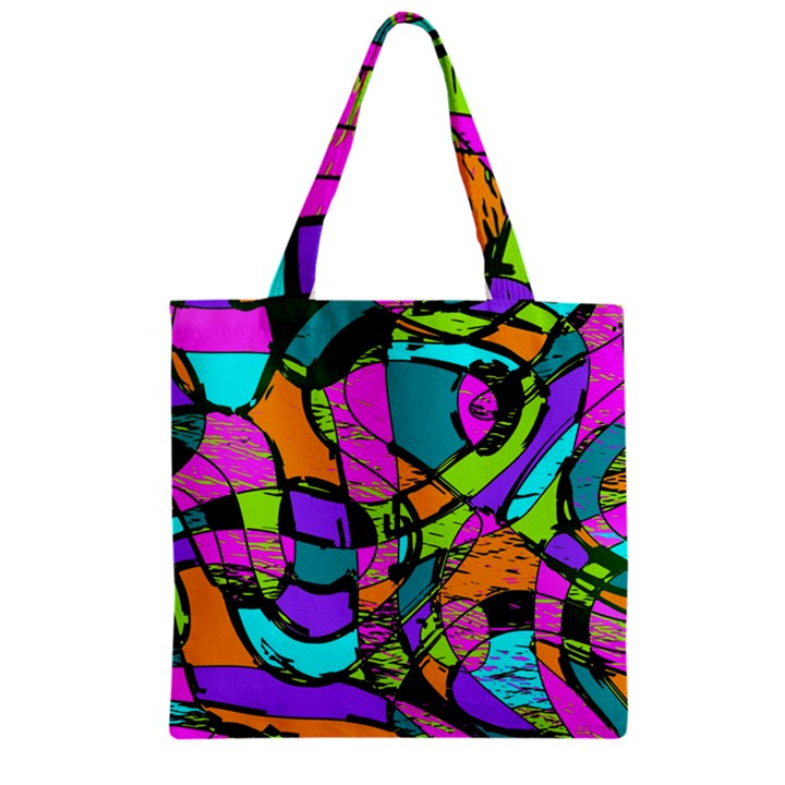 Abstract Sketch Art Squiggly Loops Multicolored Zipper Grocery Tote Bag