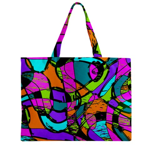 Abstract Sketch Art Squiggly Loops Multicolored Zipper Mini Tote Bag