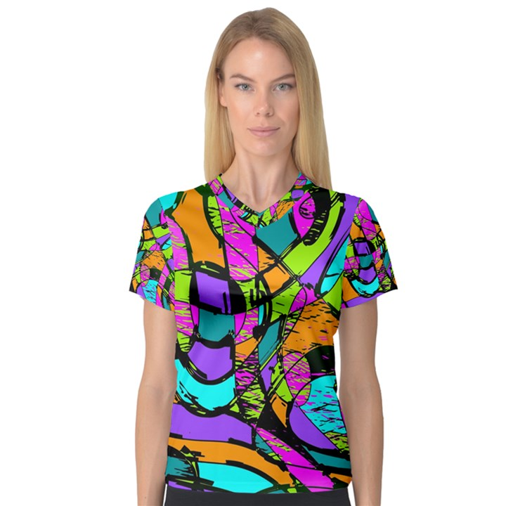 Abstract Sketch Art Squiggly Loops Multicolored Women s V-Neck Sport Mesh Tee