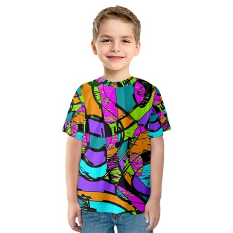 Abstract Sketch Art Squiggly Loops Multicolored Kids  Sport Mesh Tee