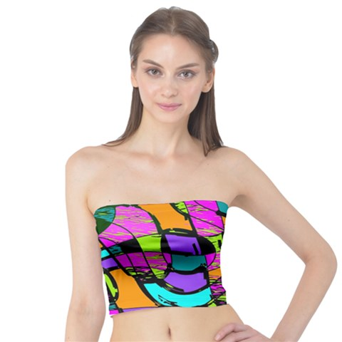 Abstract Sketch Art Squiggly Loops Multicolored Tube Top