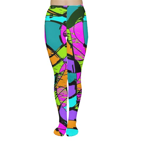 Abstract Sketch Art Squiggly Loops Multicolored Women s Tights