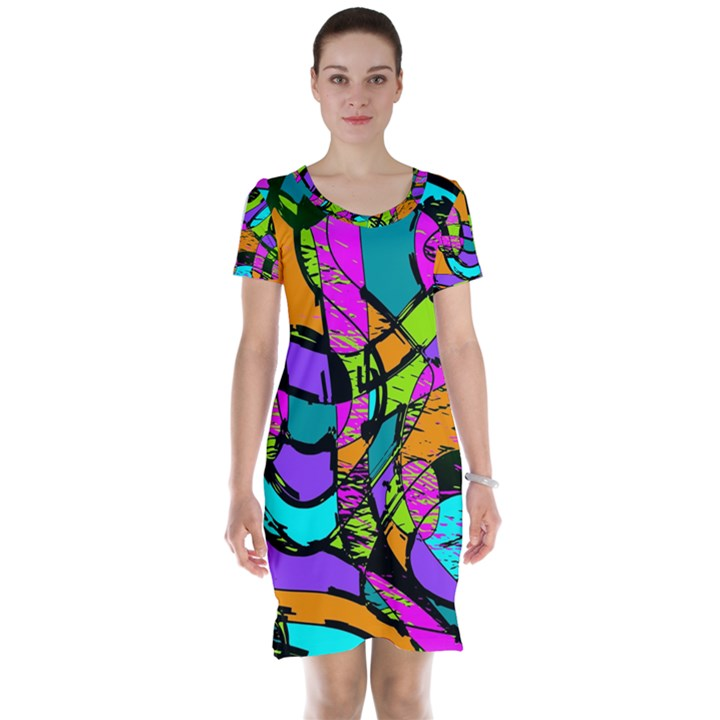 Abstract Sketch Art Squiggly Loops Multicolored Short Sleeve Nightdress
