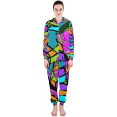Abstract Sketch Art Squiggly Loops Multicolored Hooded Jumpsuit (ladies)