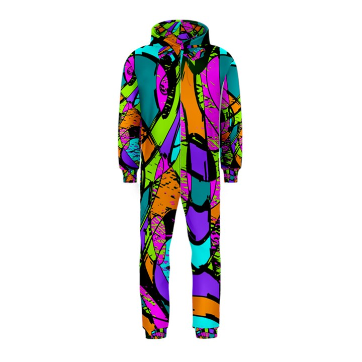 Abstract Sketch Art Squiggly Loops Multicolored Hooded Jumpsuit (Kids)