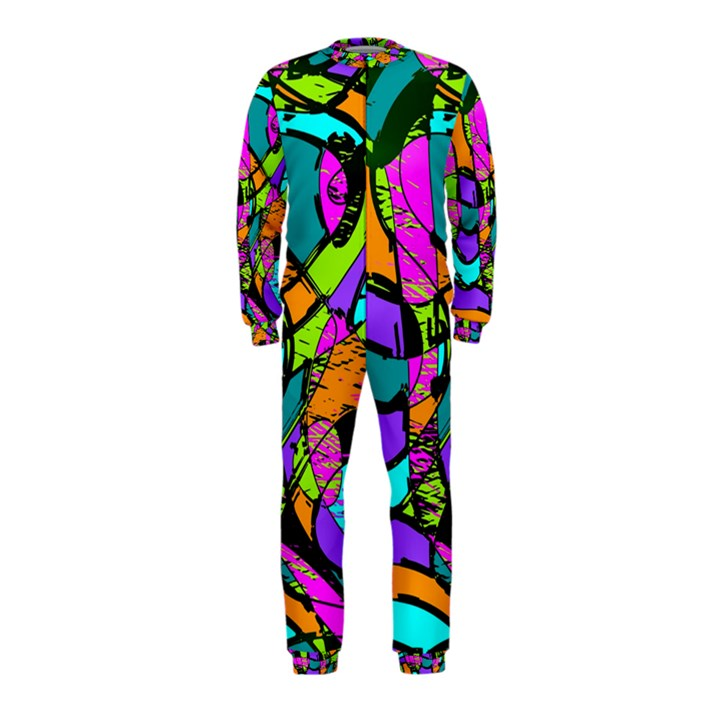 Abstract Sketch Art Squiggly Loops Multicolored OnePiece Jumpsuit (Kids)