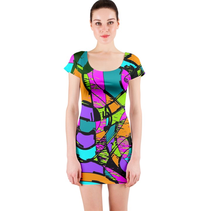 Abstract Sketch Art Squiggly Loops Multicolored Short Sleeve Bodycon Dress