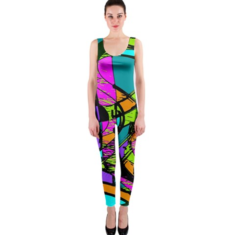 Abstract Sketch Art Squiggly Loops Multicolored OnePiece Catsuit