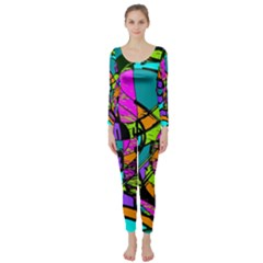 Abstract Sketch Art Squiggly Loops Multicolored Long Sleeve Catsuit