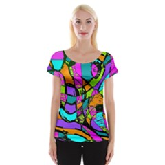 Abstract Sketch Art Squiggly Loops Multicolored Women s Cap Sleeve Top