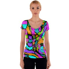 Abstract Sketch Art Squiggly Loops Multicolored Women s V-Neck Cap Sleeve Top