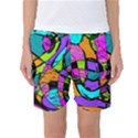 Abstract Sketch Art Squiggly Loops Multicolored Women s Basketball Shorts View1