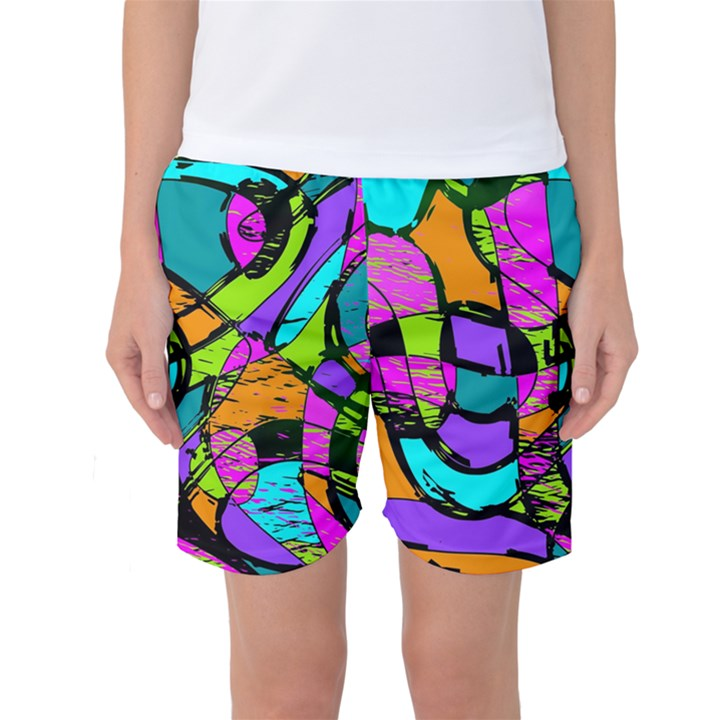 Abstract Sketch Art Squiggly Loops Multicolored Women s Basketball Shorts