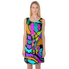 Abstract Sketch Art Squiggly Loops Multicolored Sleeveless Satin Nightdress