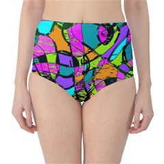 Abstract Sketch Art Squiggly Loops Multicolored High Waist Bikini Bottoms