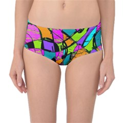 Abstract Sketch Art Squiggly Loops Multicolored Mid Waist Bikini Bottoms