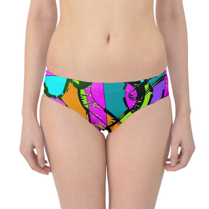 Abstract Sketch Art Squiggly Loops Multicolored Hipster Bikini Bottoms