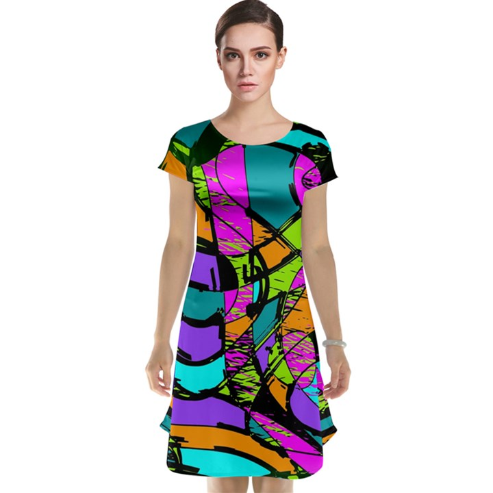 Abstract Sketch Art Squiggly Loops Multicolored Cap Sleeve Nightdress