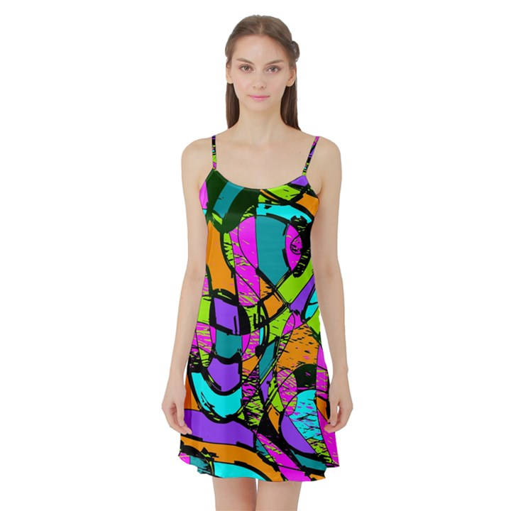 Abstract Sketch Art Squiggly Loops Multicolored Satin Night Slip