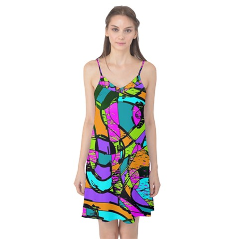 Abstract Sketch Art Squiggly Loops Multicolored Camis Nightgown