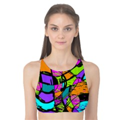 Abstract Sketch Art Squiggly Loops Multicolored Tank Bikini Top