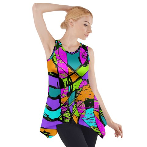 Abstract Sketch Art Squiggly Loops Multicolored Side Drop Tank Tunic