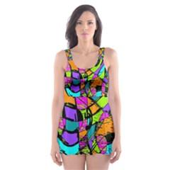 Abstract Sketch Art Squiggly Loops Multicolored Skater Dress Swimsuit