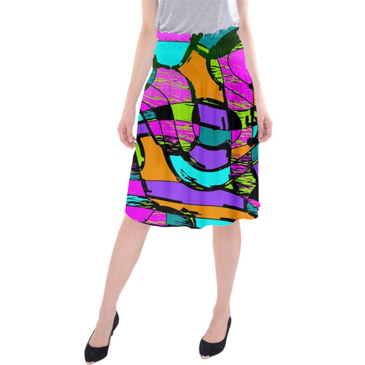 Abstract Sketch Art Squiggly Loops Multicolored Midi Beach Skirt