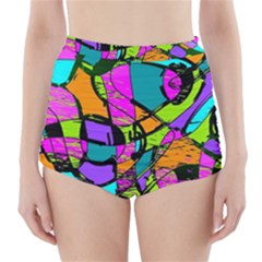 Abstract Sketch Art Squiggly Loops Multicolored High Waisted Bikini Bottoms