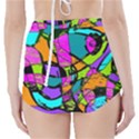 Abstract Sketch Art Squiggly Loops Multicolored High-Waisted Bikini Bottoms View2