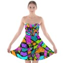 Abstract Sketch Art Squiggly Loops Multicolored Strapless Bra Top Dress View1