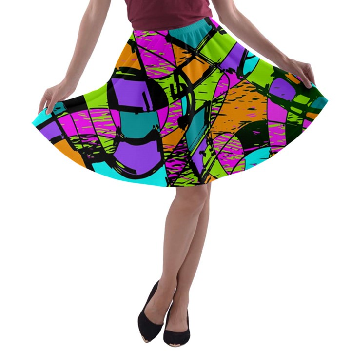 Abstract Sketch Art Squiggly Loops Multicolored A-line Skater Skirt