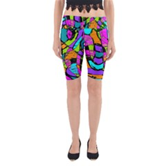 Abstract Sketch Art Squiggly Loops Multicolored Yoga Cropped Leggings